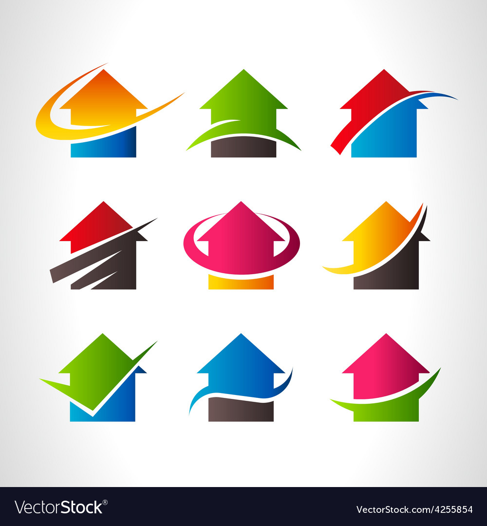 Real estate house logo icons vector