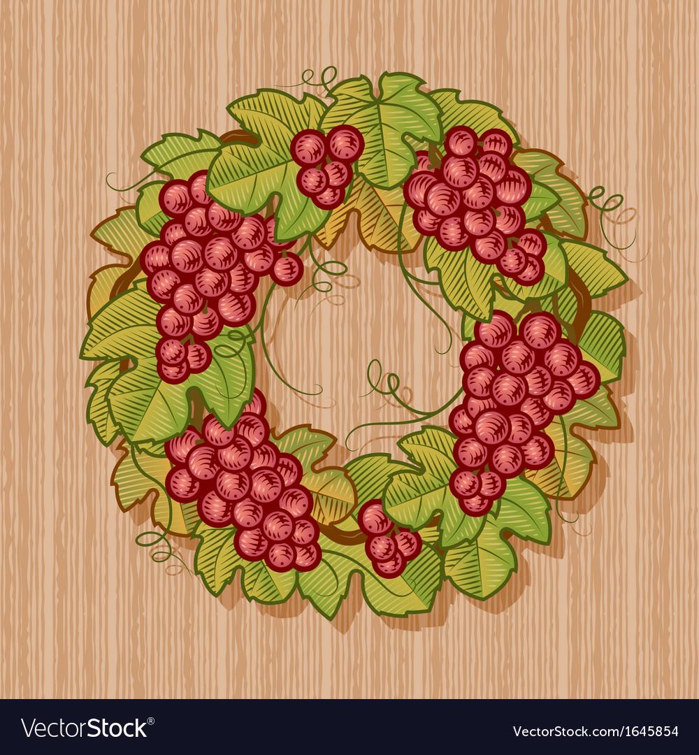 Retro grapes wreath vector | Price: 1 Credit (USD $1)