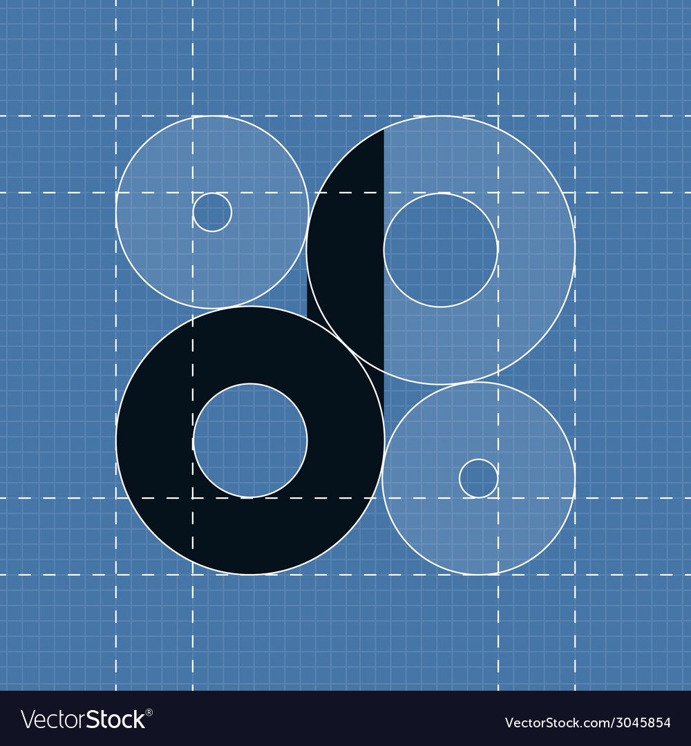Round engineering font symbol d vector | Price: 1 Credit (USD $1)
