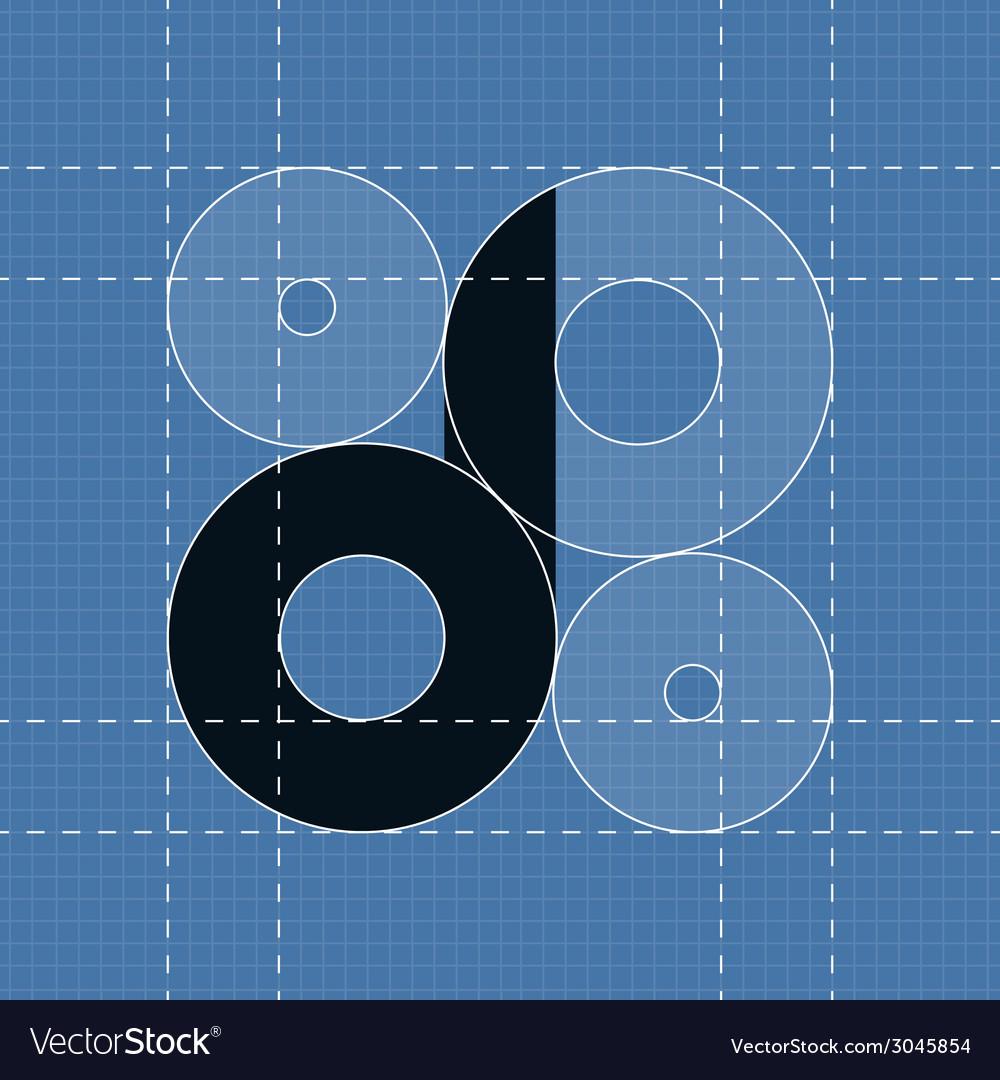 Round engineering font symbol d vector | Price: 1 Credit (USD $1)