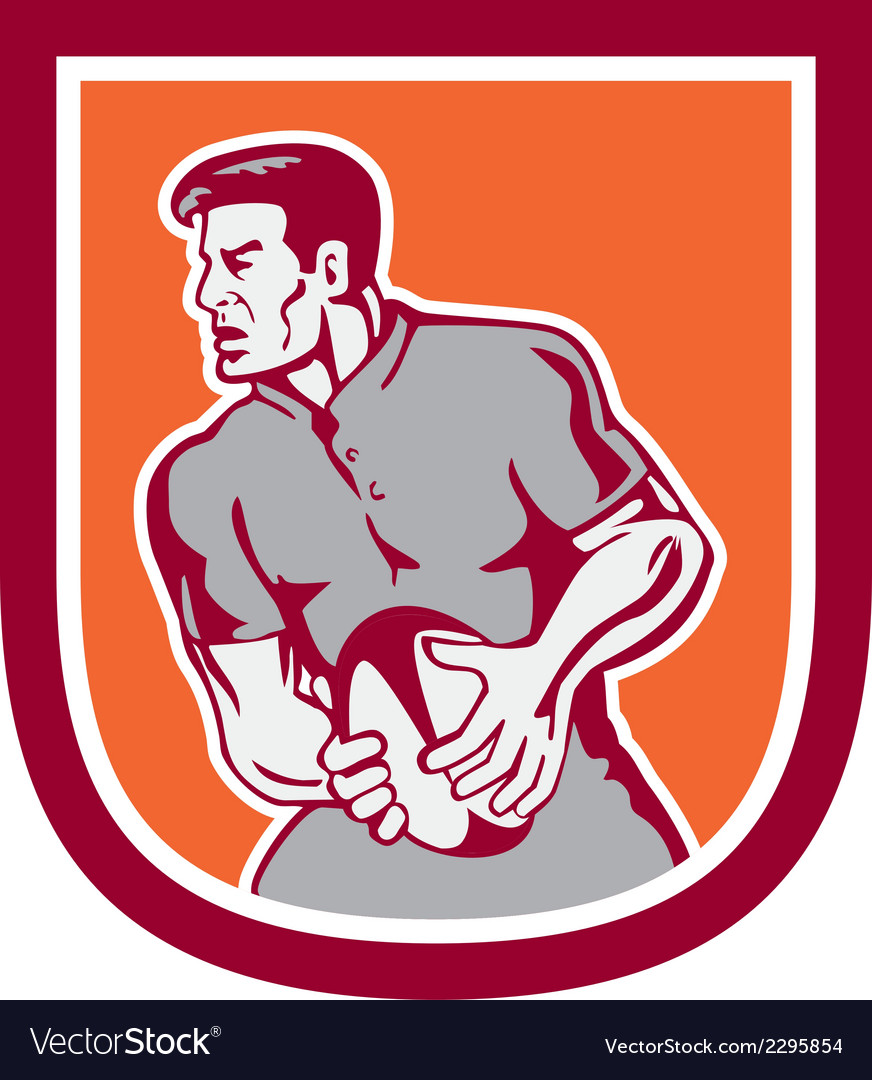 Rugby player passing ball sideview retro vector | Price: 1 Credit (USD $1)