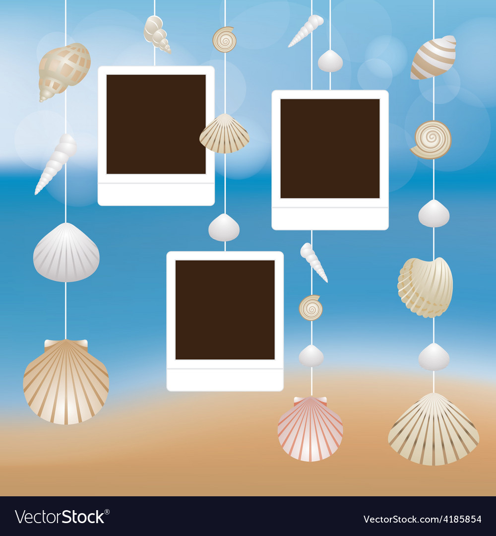 Sea shell and frame hanging mobile blur background vector | Price: 3 Credit (USD $3)