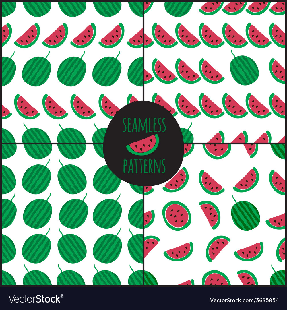 Set of 4 watermelon slice seamless pattern vector | Price: 1 Credit (USD $1)