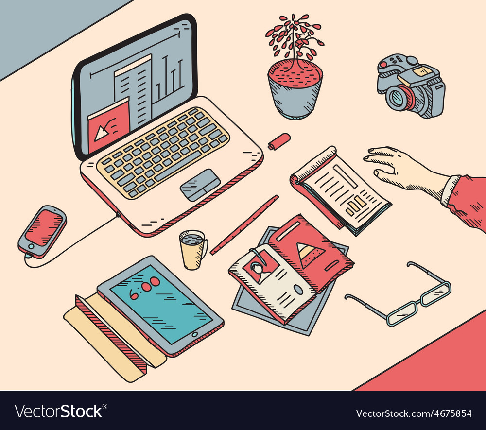 Top view sketch hand drawn office or fome vector | Price: 1 Credit (USD $1)