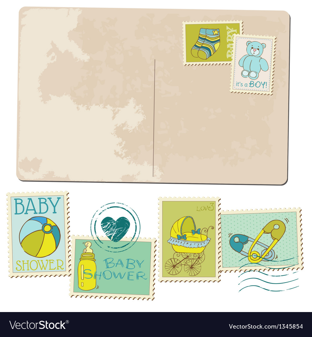 Vintage baby boy arrival postcard vector | Price: 1 Credit (USD $1)