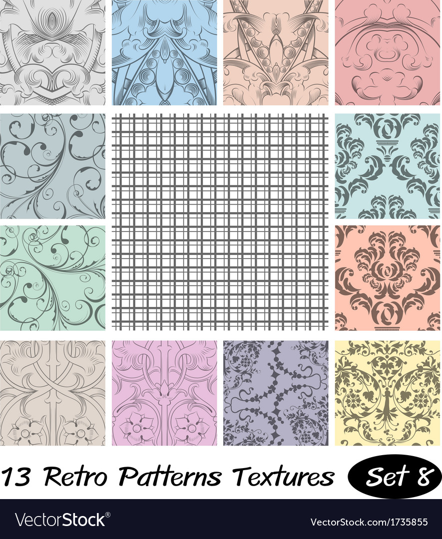 13 retro patterns textures set 8 vector | Price: 1 Credit (USD $1)