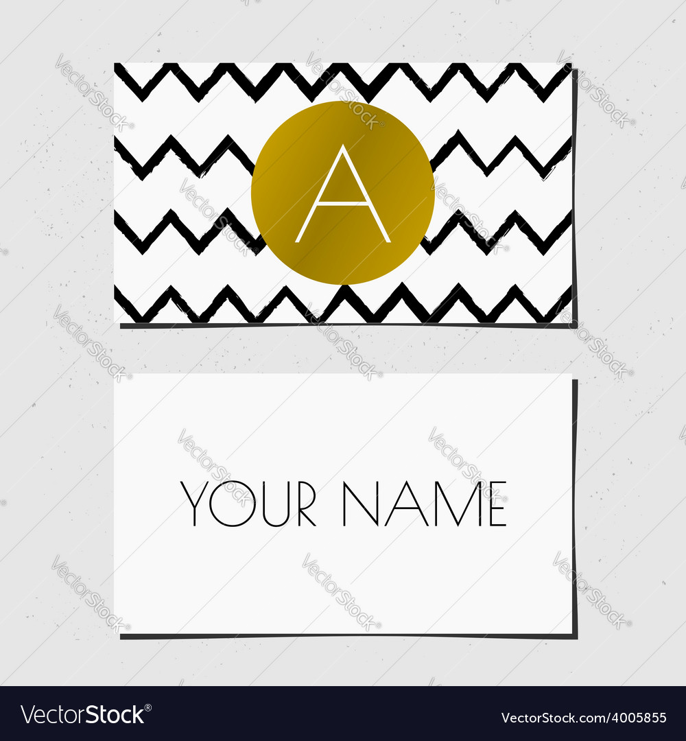 Black white and gold chevron pattern business card vector | Price: 1 Credit (USD $1)