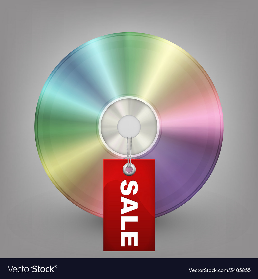 Blue-ray dvd or cd disc with label sale vector | Price: 1 Credit (USD $1)