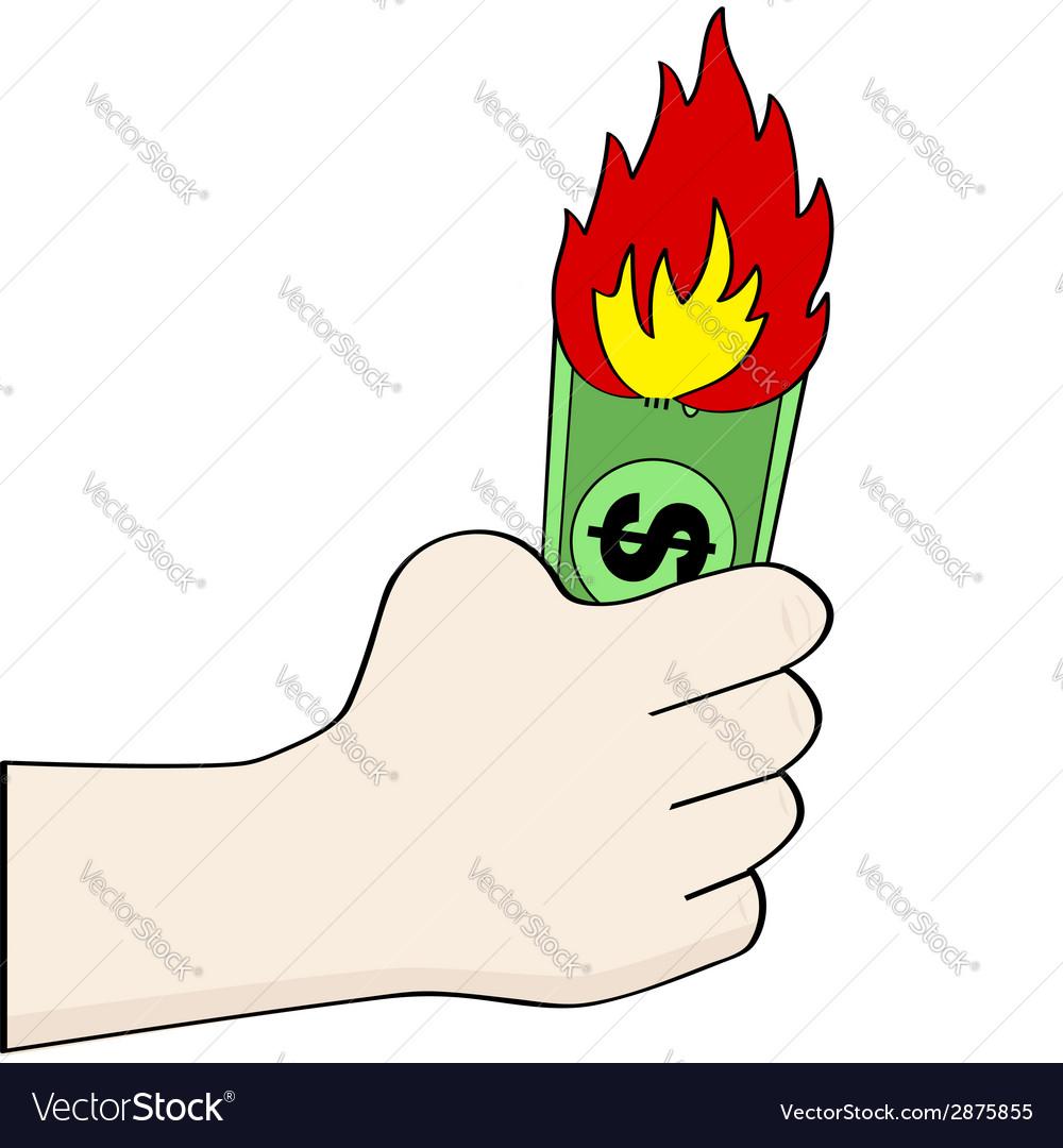 Burning money vector | Price: 1 Credit (USD $1)