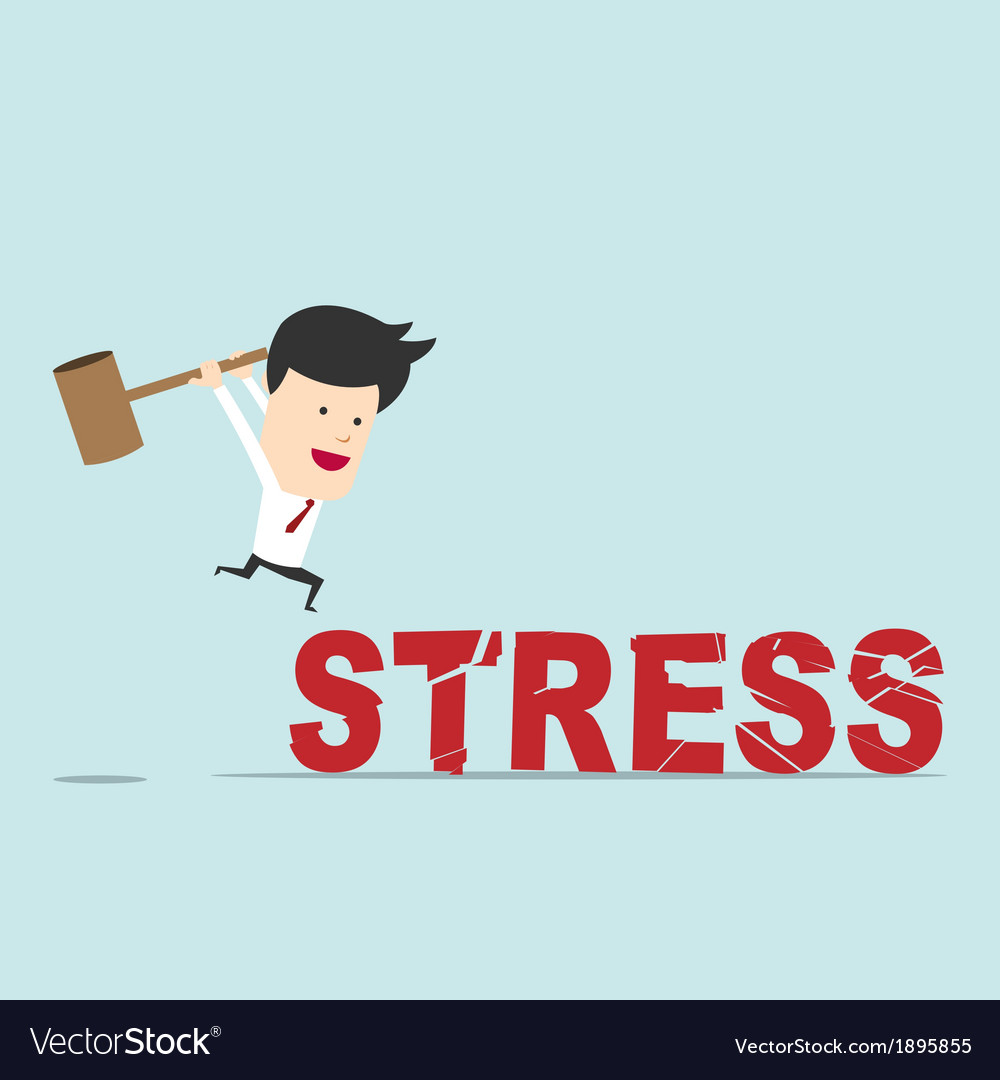 Business man use hammer try to break stress word vector | Price: 1 Credit (USD $1)