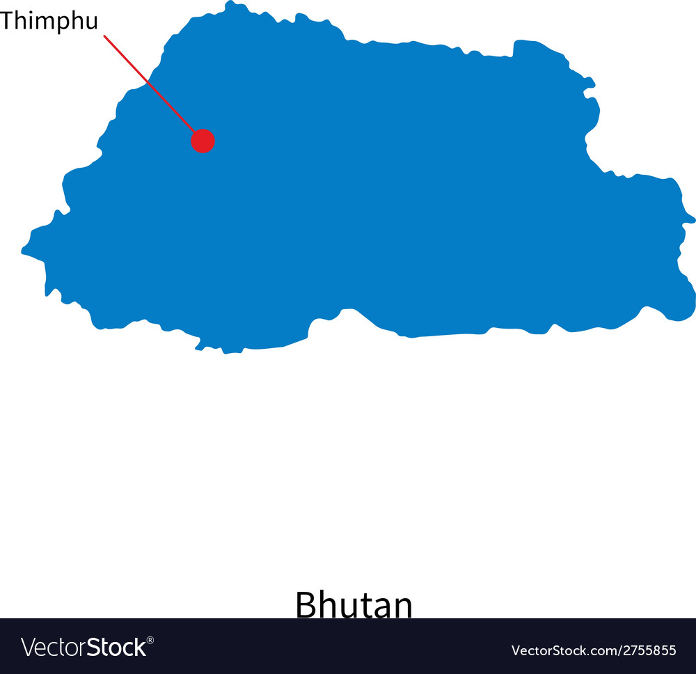 Detailed map of bhutan and capital city thimphu vector | Price: 1 Credit (USD $1)