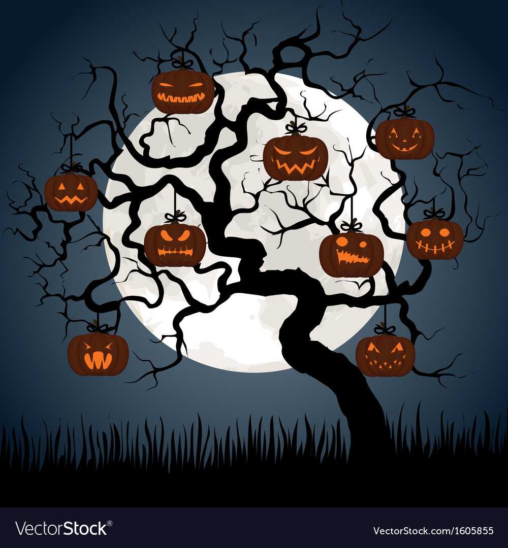 Gnarled tree at night with halloween pumpkins vector | Price: 1 Credit (USD $1)