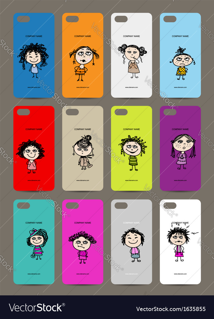 Mobile phone cover back  12 funny girls for your vector | Price: 1 Credit (USD $1)