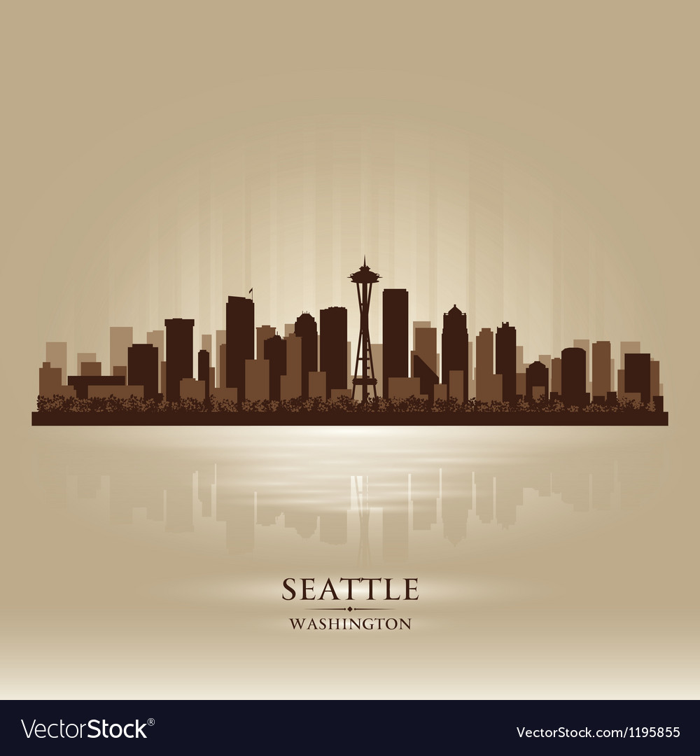 Seattle washington skyline city silhouette vector | Price: 1 Credit (USD $1)