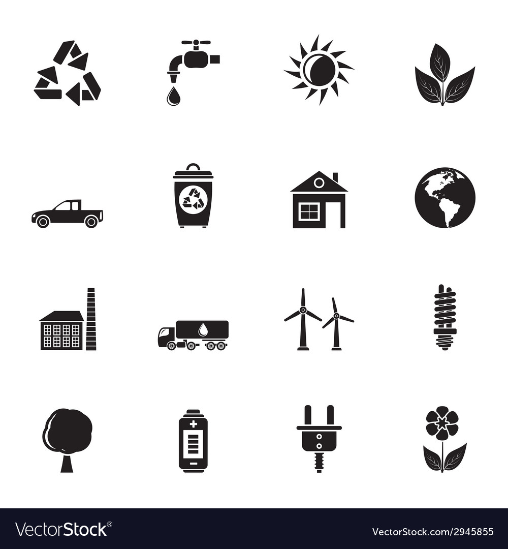 Silhouette ecology and environment icons vector | Price: 1 Credit (USD $1)