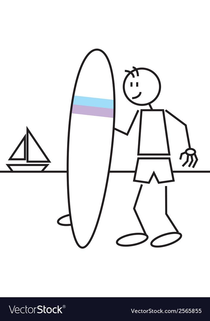 Stick figure surf vector | Price: 1 Credit (USD $1)