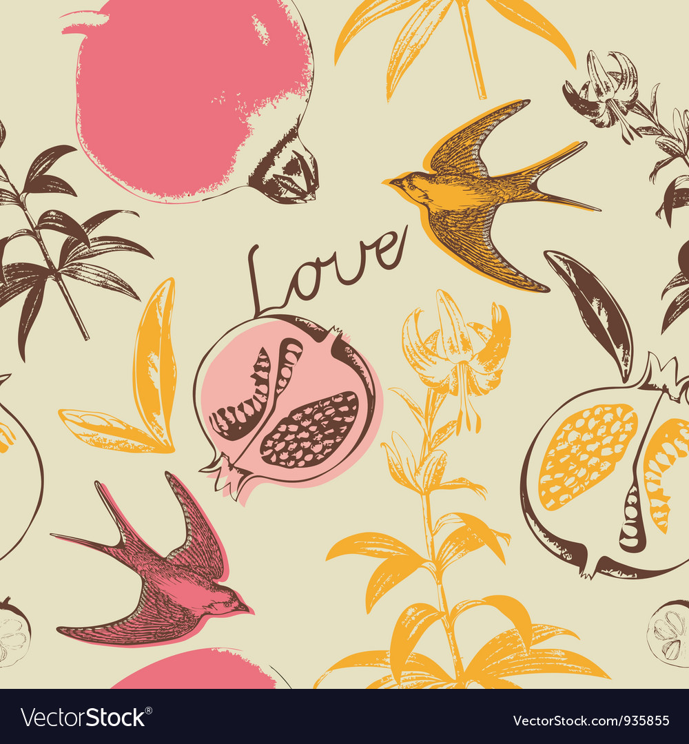 Vintage love swallow birds pattern vector | Price: 1 Credit (USD $1)