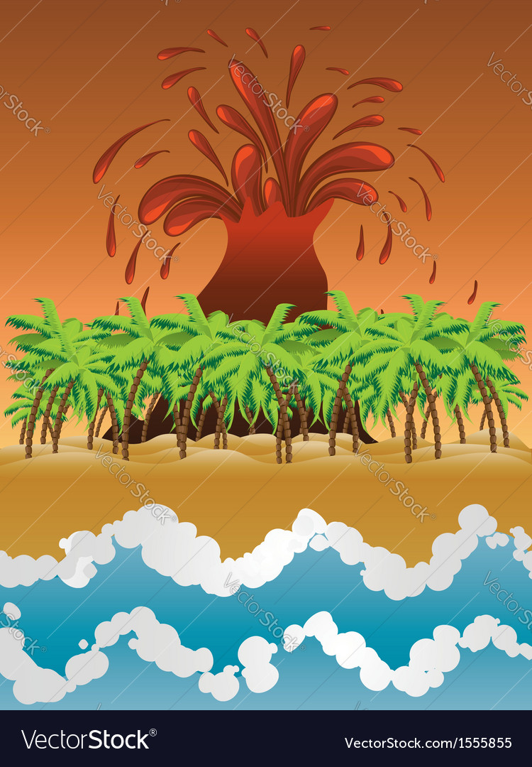 Volcano island vector | Price: 1 Credit (USD $1)