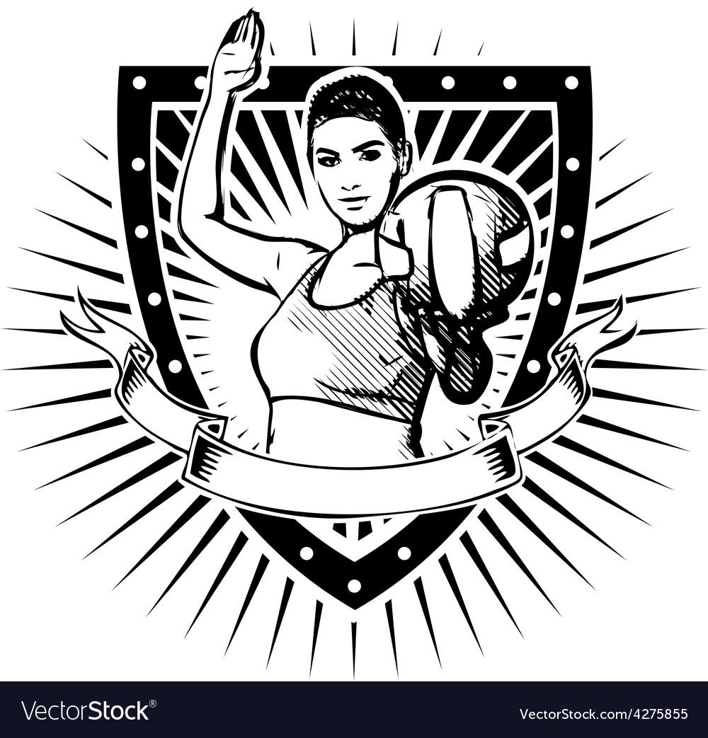 Woman volley shield vector | Price: 1 Credit (USD $1)