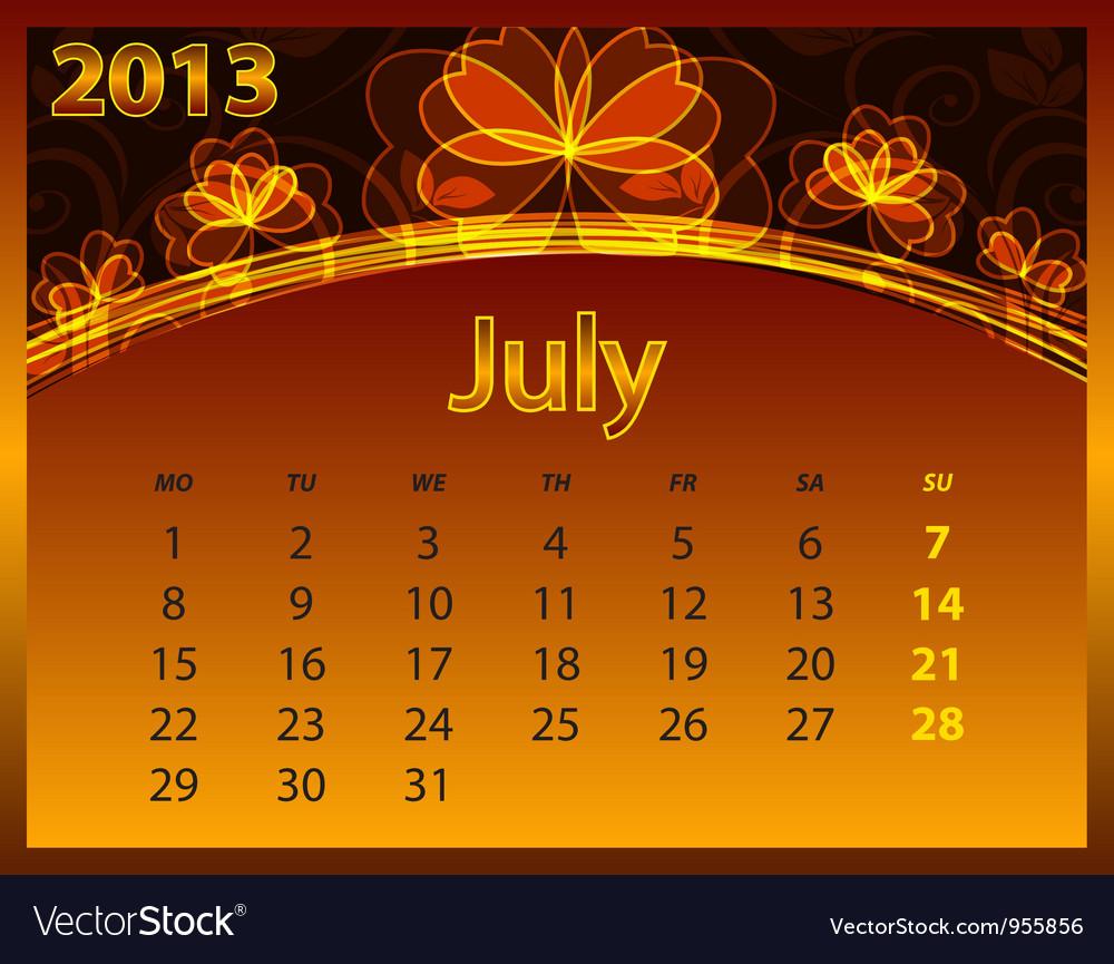 2013 calendar year vector | Price: 1 Credit (USD $1)