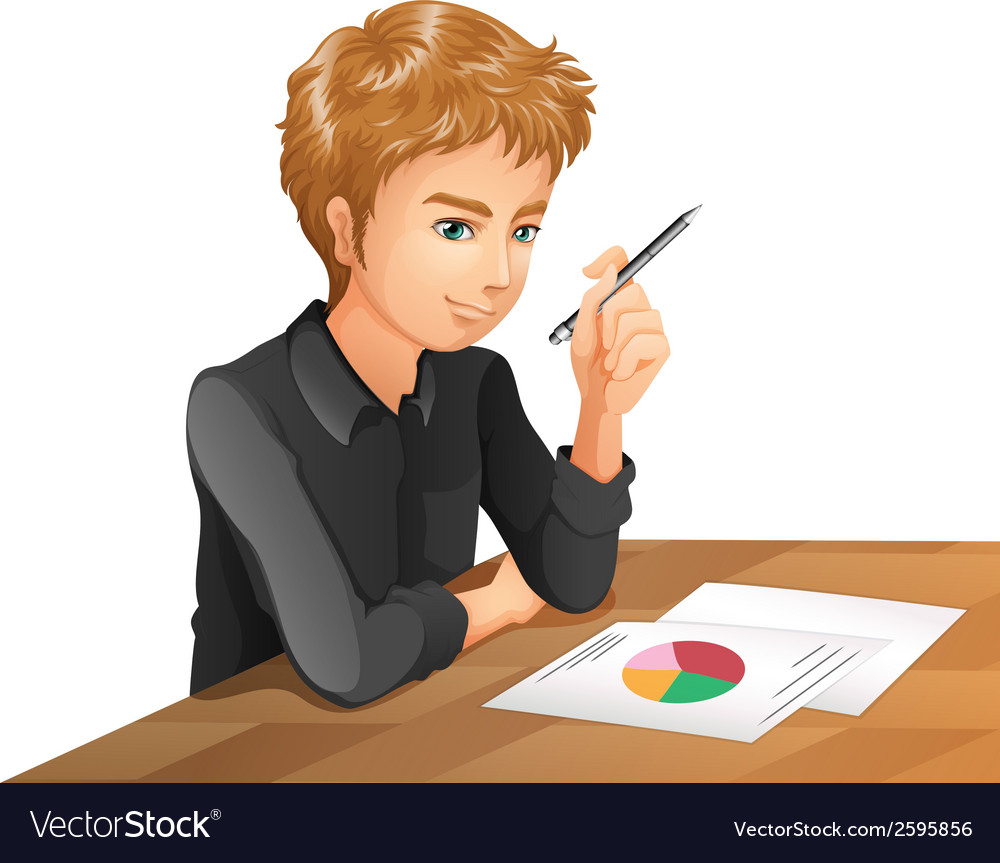 A man taking an exam vector | Price: 1 Credit (USD $1)