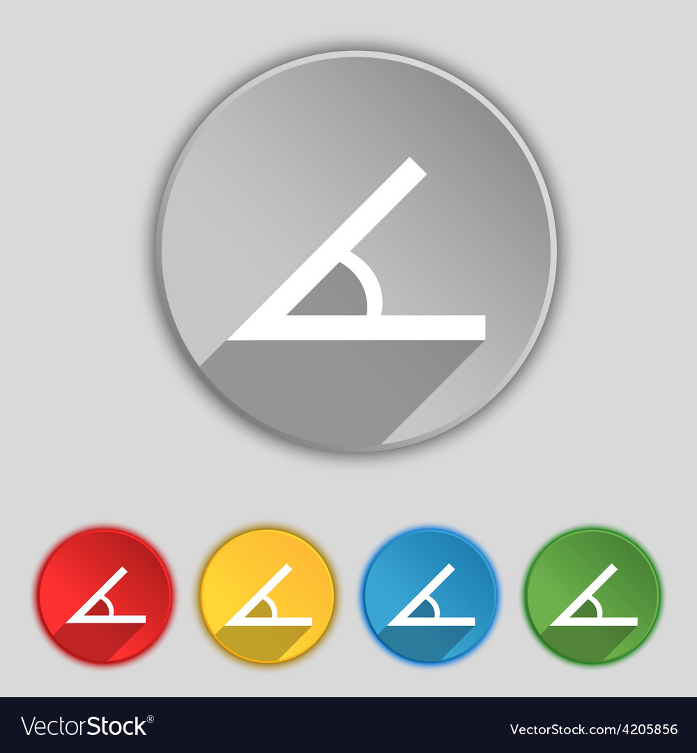 Angle 45 degrees icon sign symbol on five flat vector | Price: 1 Credit (USD $1)