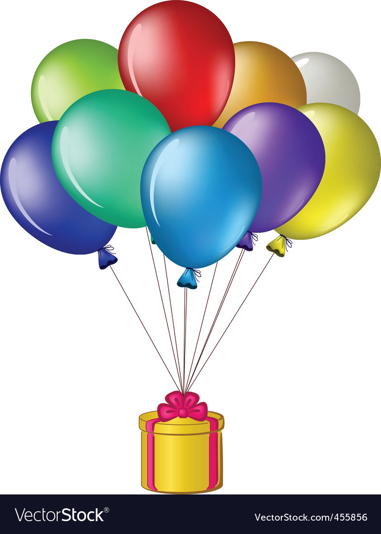 Balloons with a gift box vector | Price: 1 Credit (USD $1)