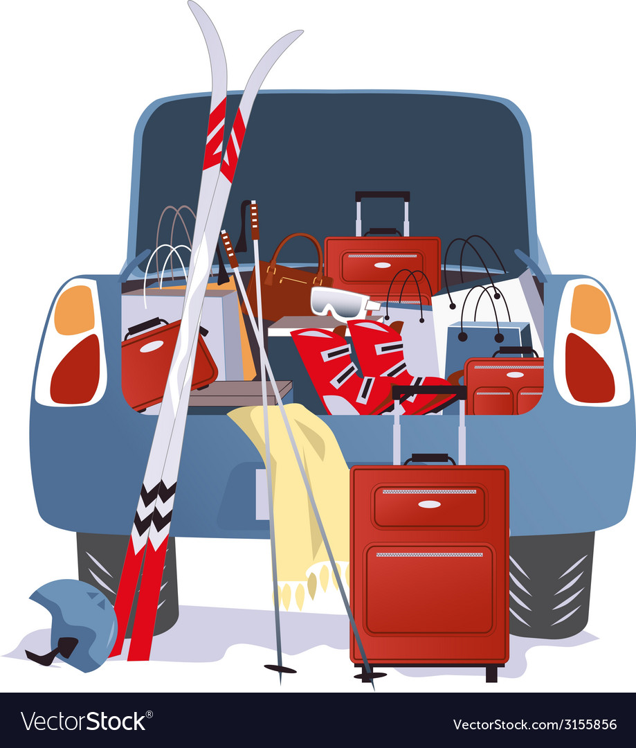 Car packed for a ski trip vector | Price: 1 Credit (USD $1)