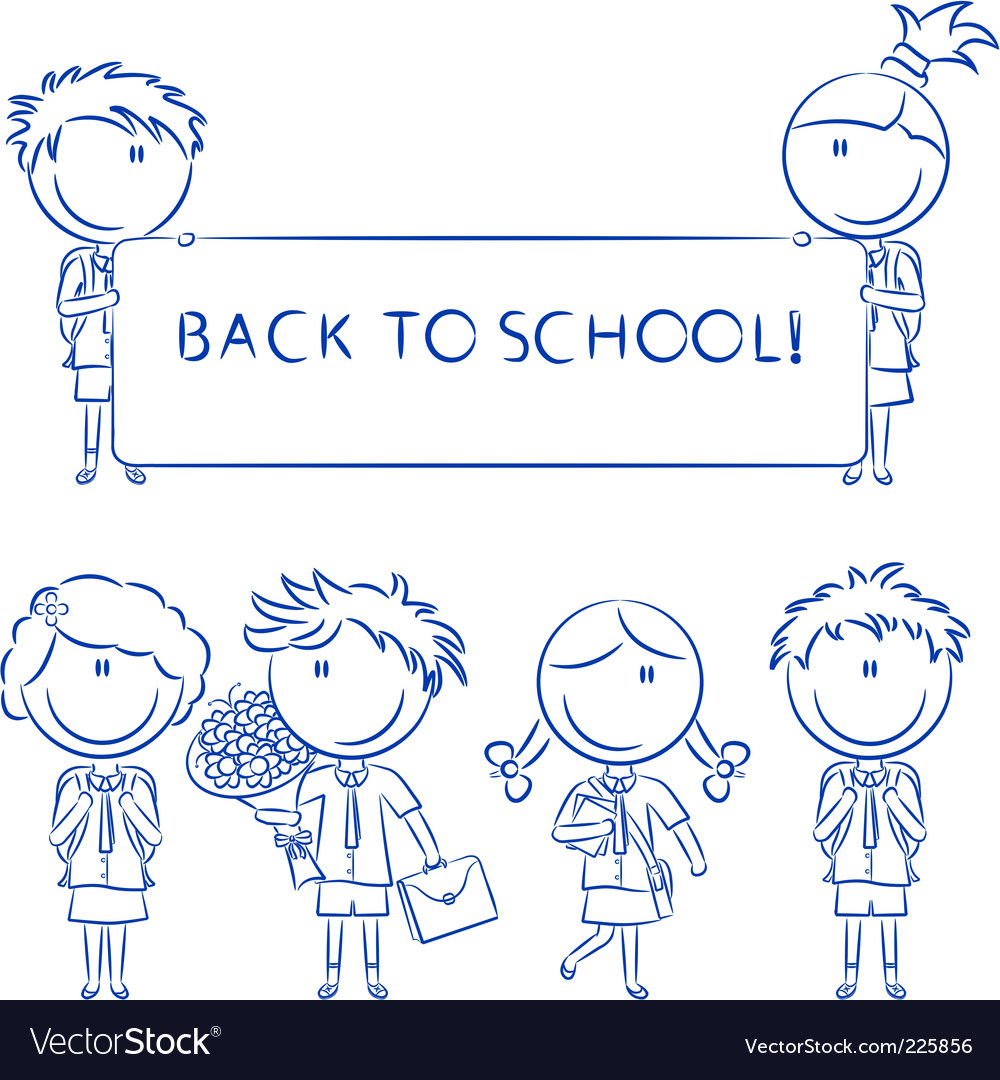 Cheerful cute school kids wit vector