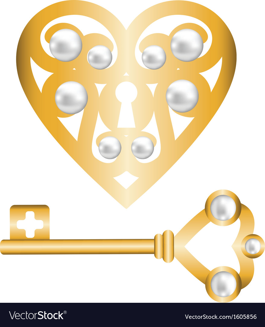 Gold heart lock and key with pearl vector | Price: 1 Credit (USD $1)
