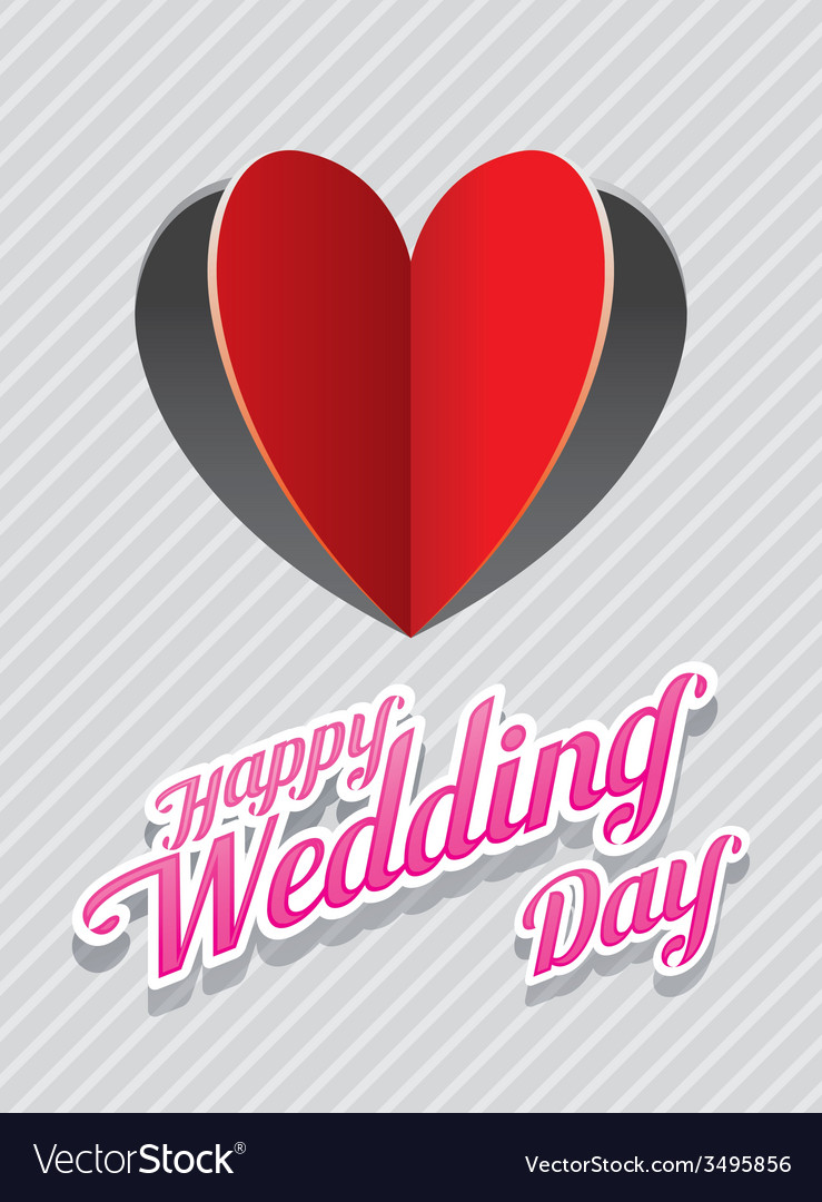 Heart shape paper cut background and wedding text vector | Price: 1 Credit (USD $1)