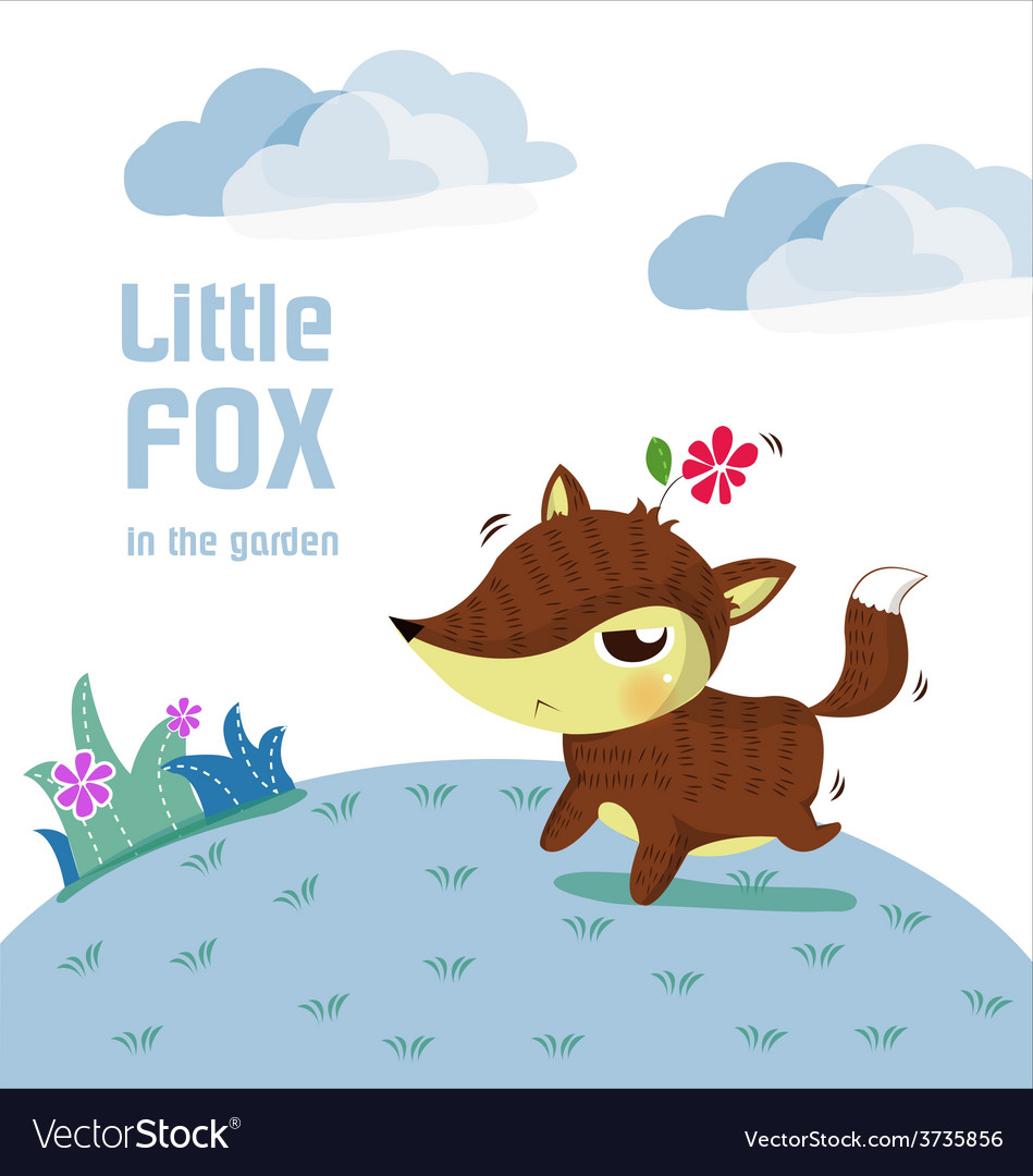 Little fox lovely vector | Price: 3 Credit (USD $3)