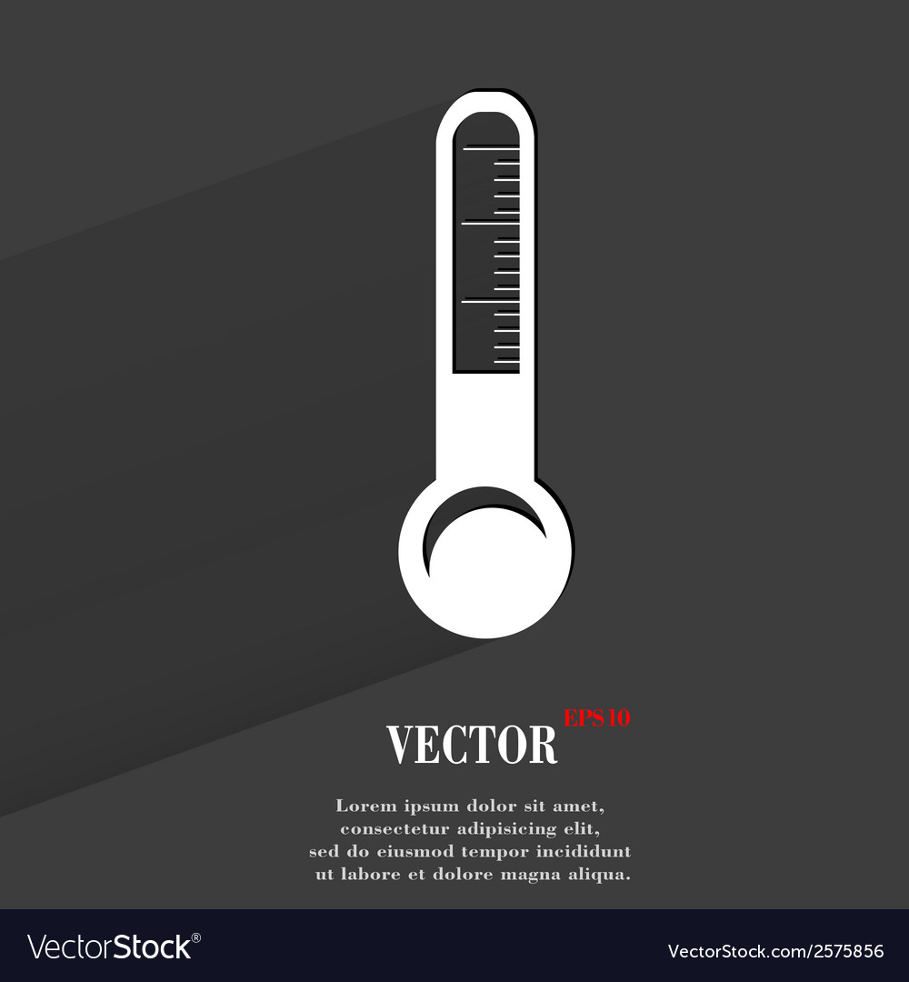 Thermometer flat modern web button with long vector | Price: 1 Credit (USD $1)
