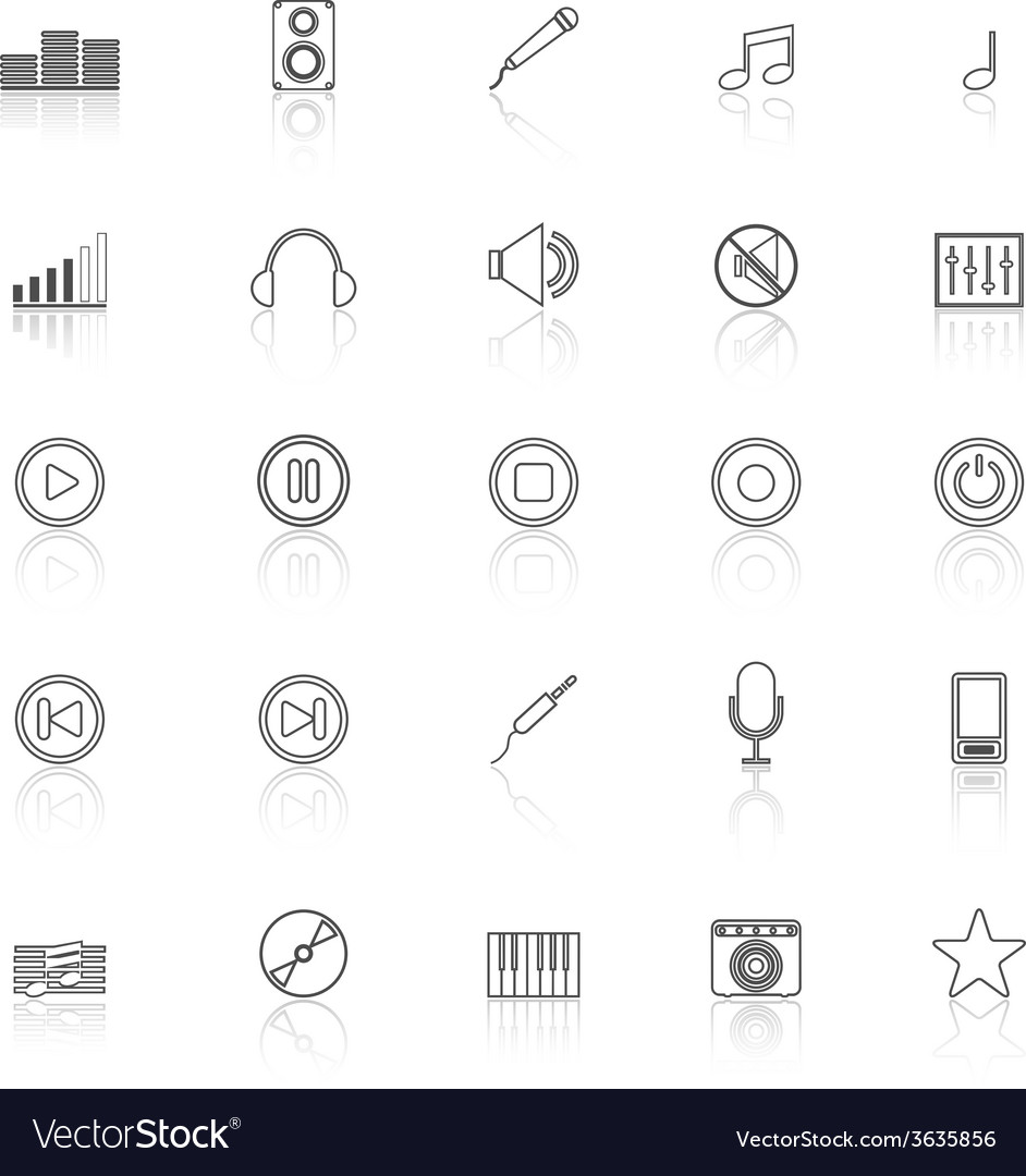 Music line icons with reflect on white background vector | Price: 1 Credit (USD $1)