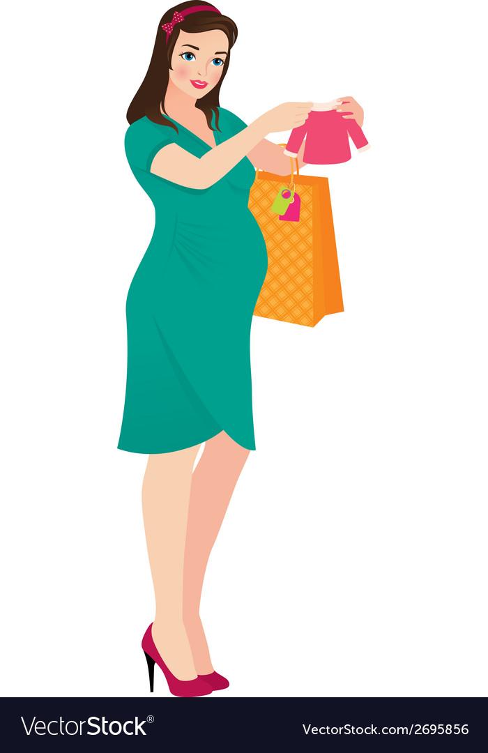 Pregnant woman shopper vector | Price: 1 Credit (USD $1)