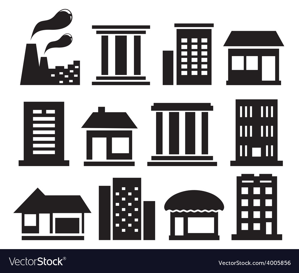Set urban building icons vector | Price: 1 Credit (USD $1)
