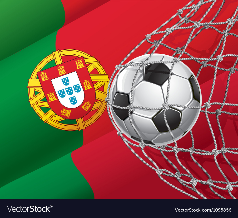 Soccer goal and portugal flag vector | Price: 1 Credit (USD $1)
