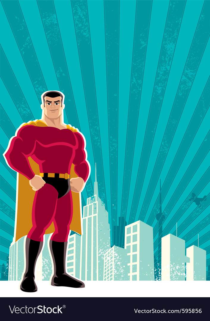Superhero city vector | Price: 3 Credit (USD $3)