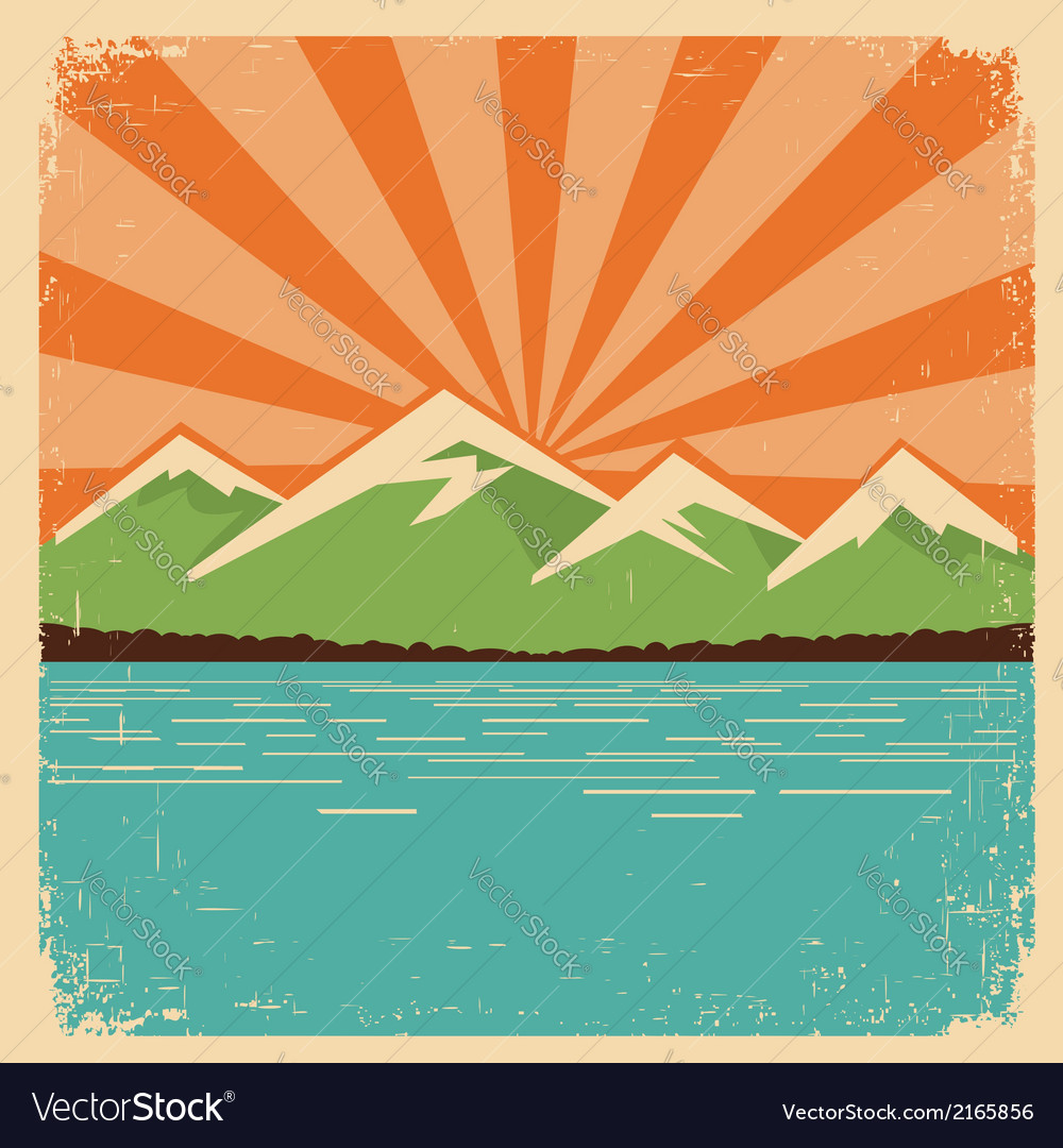 Vintage nature postermountains horizon vector | Price: 1 Credit (USD $1)