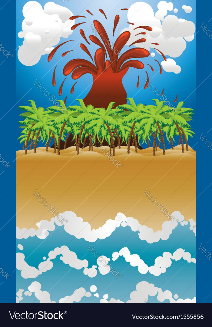 Volcano island2 vector | Price: 1 Credit (USD $1)