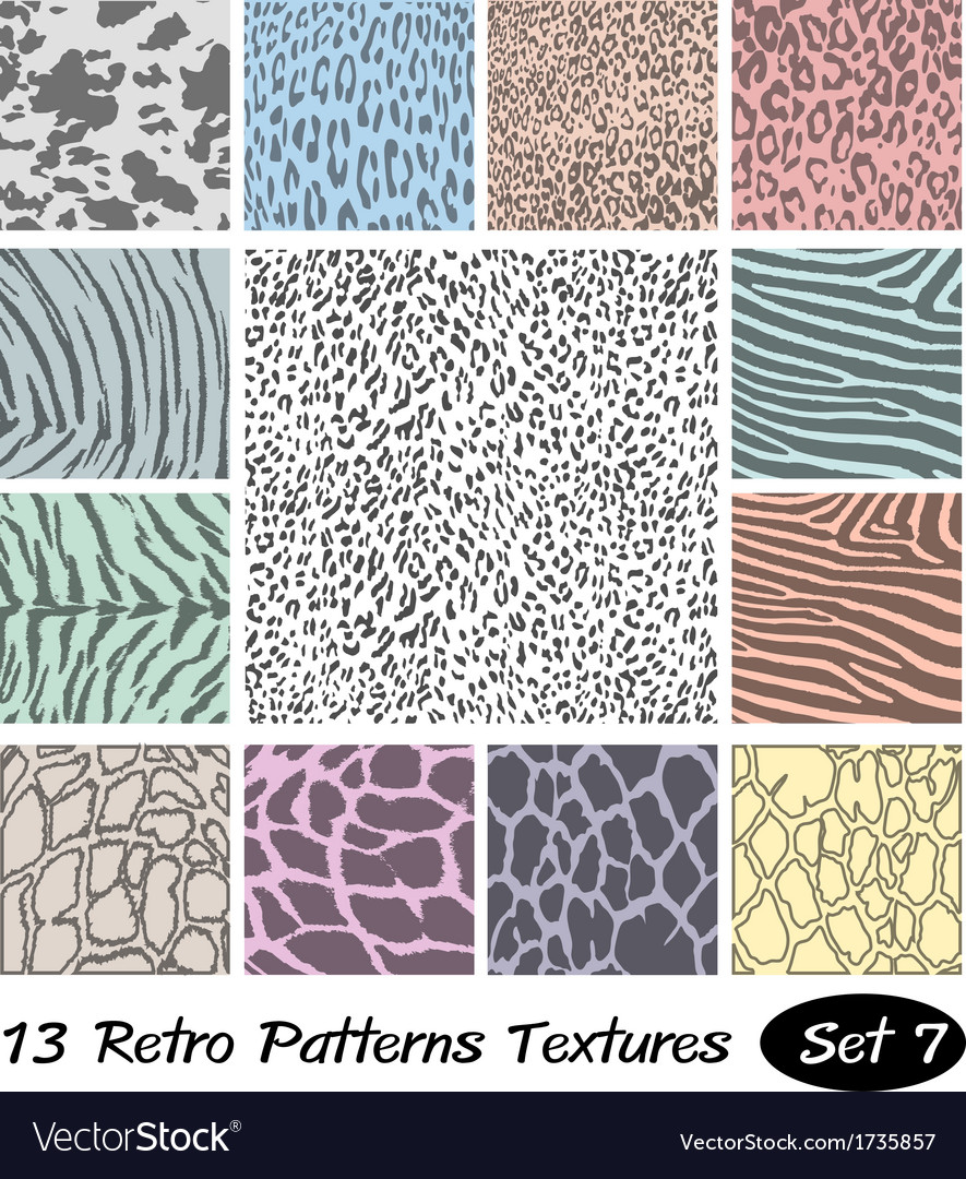 13 animal retro patterns textures vector | Price: 1 Credit (USD $1)