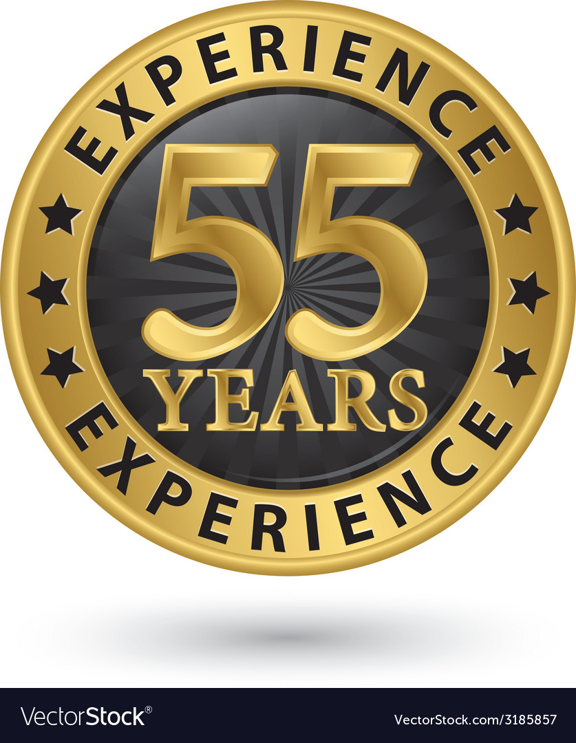 55 years experience gold label vector | Price: 1 Credit (USD $1)