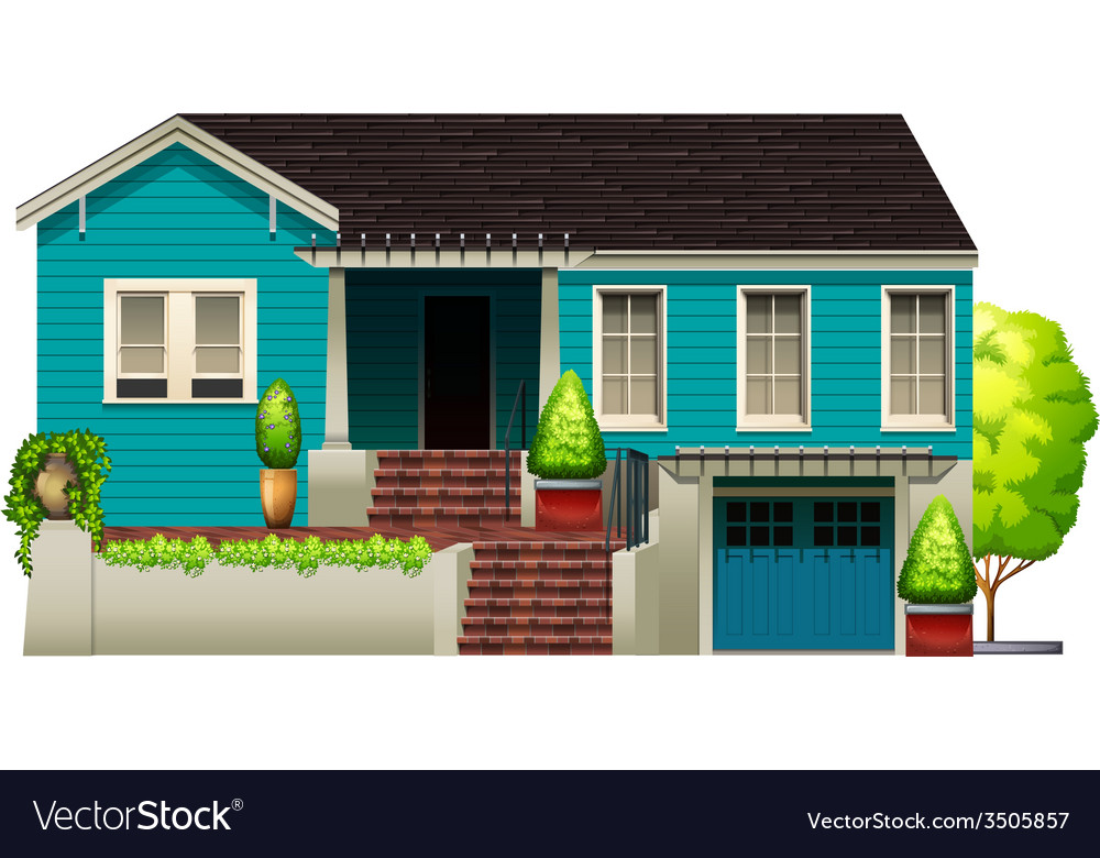 A blue house vector | Price: 1 Credit (USD $1)