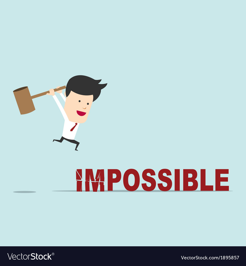 Business man use hammer try to break impossible vector | Price: 1 Credit (USD $1)