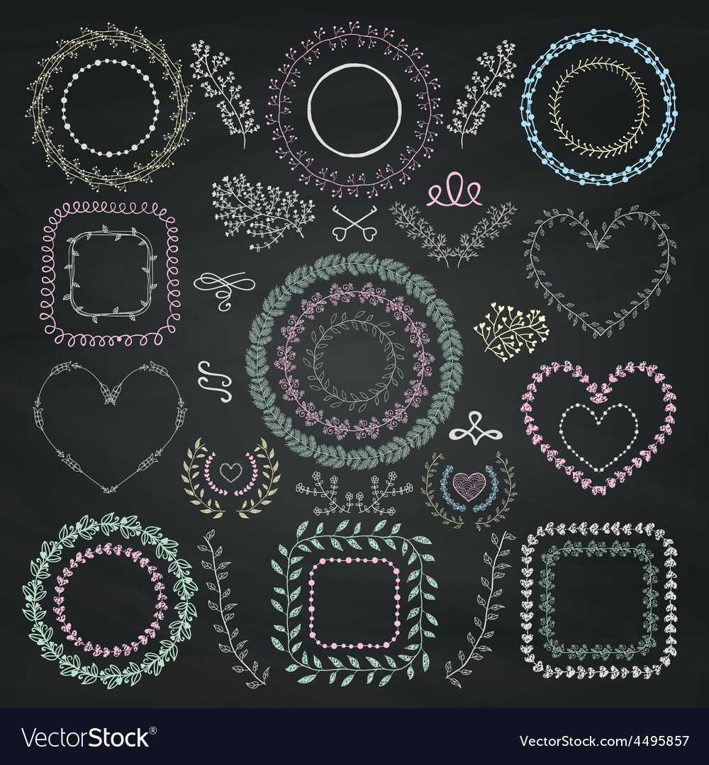 Colorful chalk drawing floral frames vector