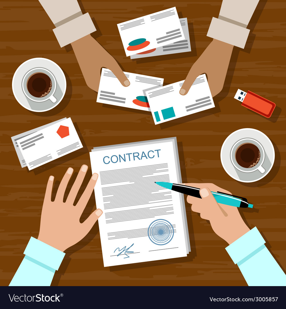 Contract for a business meeting vector | Price: 1 Credit (USD $1)
