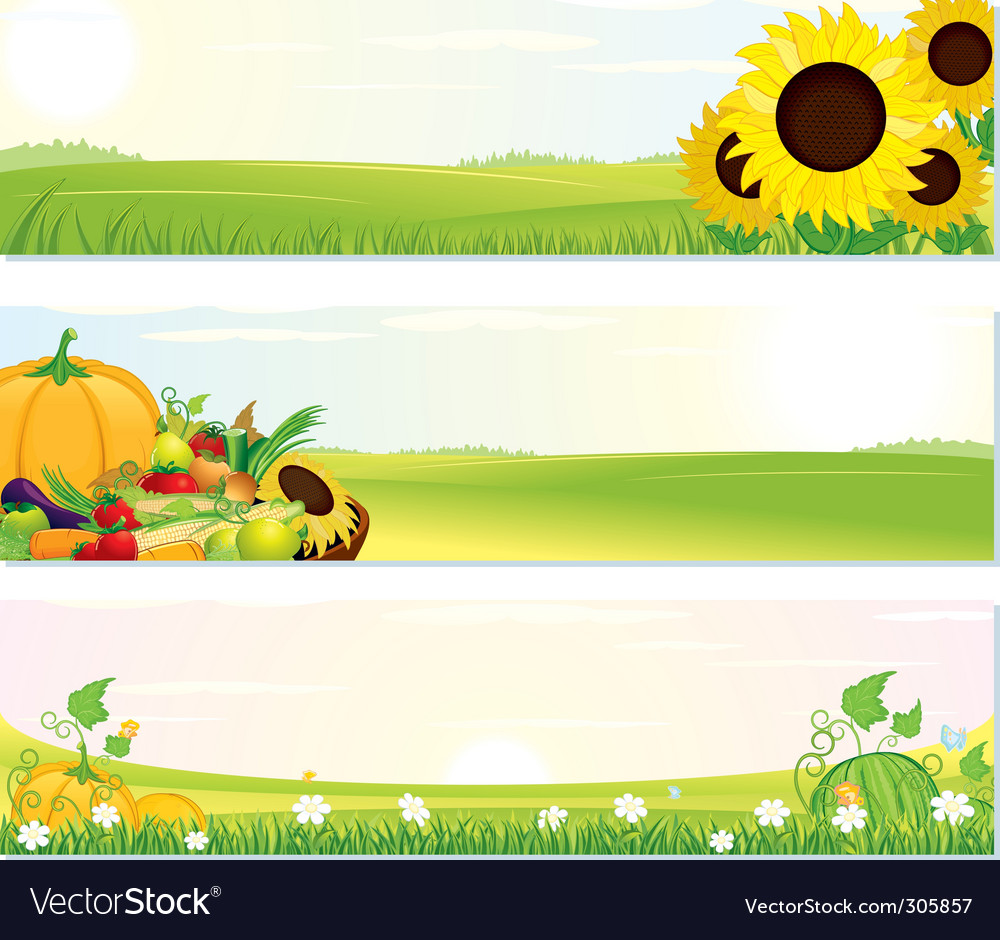Fresh nature banners vector | Price: 3 Credit (USD $3)