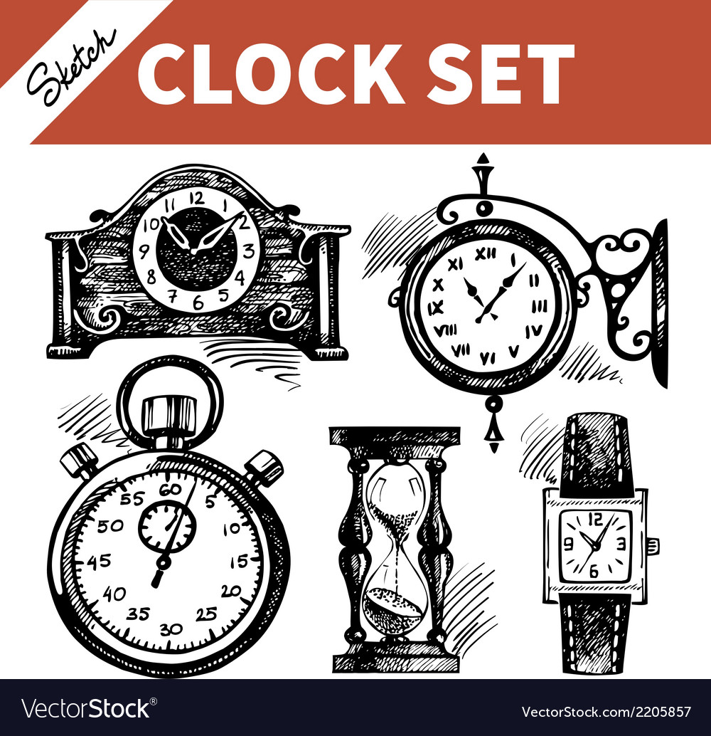 Hand drawn sketch set of clocks and watches vector | Price: 1 Credit (USD $1)