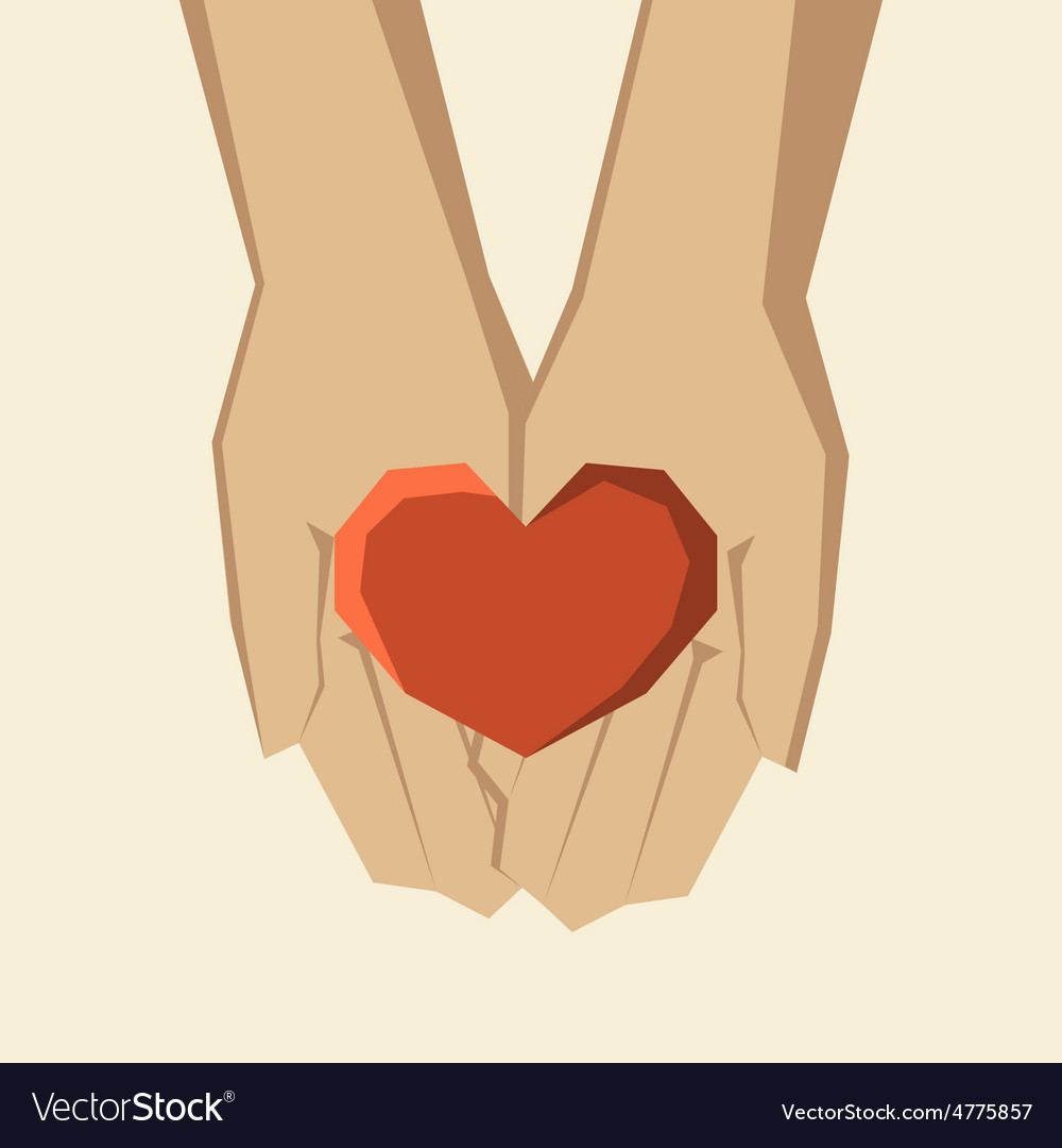 Hands holding heart vector | Price: 1 Credit (USD $1)