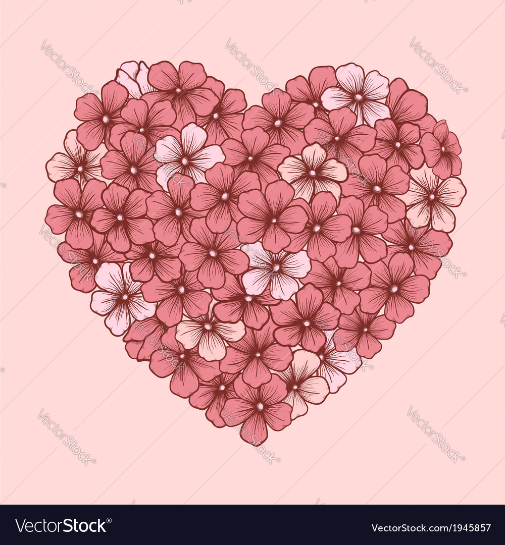 Heart of flowers drawn contour lines vector | Price: 1 Credit (USD $1)